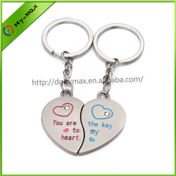 Valentine S Day Beautiful Heart Shape Metal Keychain For Couples