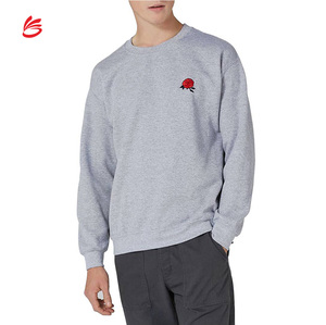 Customizable Soft Embroidered Logo Sweatshirt Men Warm Grey Pullover Boy Cotton Crewneck Laid-back Manufacturer Sweatshirts