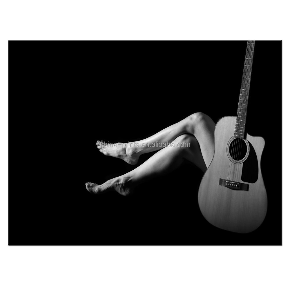 1 pieces black and white artistic sexy guitar photo canvas wall picture for living room wholesale fo062304
