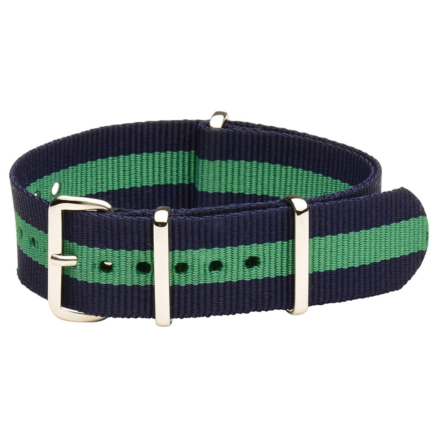 NATO G10 Nylon Premium Quality Replacement Watch Band Strap - 22mm / Navy Blue Green Stripe - FITS ALL BRAND WATCHES