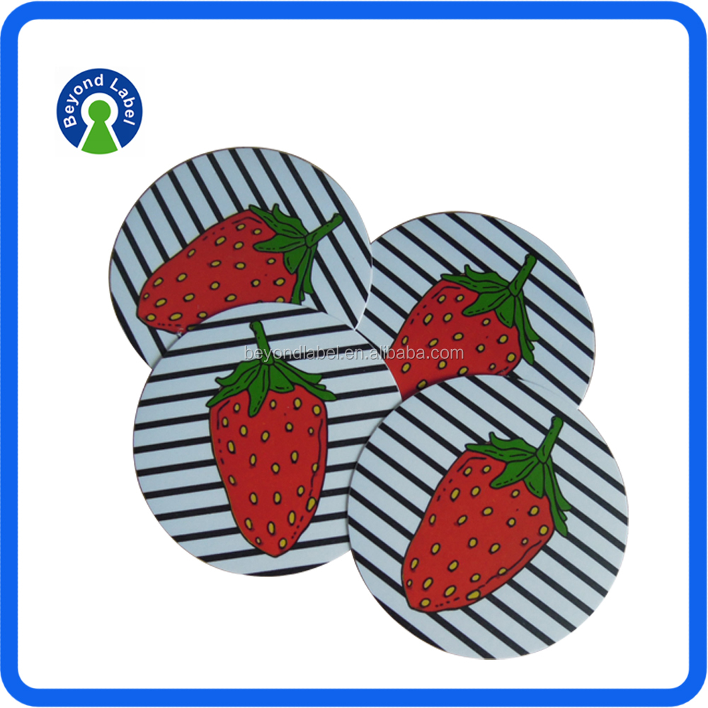 Sheet Individual Packaging Promotional Adhesive Label Sticker, Fruit Round Adhesive Matt Laminated Sticker