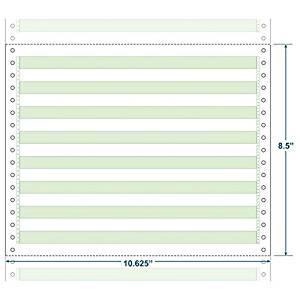 "10-5/8"" x 8-1/2"" (W x H) Continuous 15# Computer Paper, 1/2"" Green Bar (Carton of 3500)"