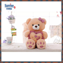 Original Manufacturer Customized Valentine cream Plush Teddy Bear With Heart Shape Pillow&bowknot(pink)