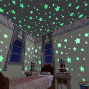 100pcs 3D Stars Glow in the Dark Luminous Wall Stickers for Kids Room Living Room Home Decoration