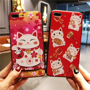 New Year Lucky Fortune Cat Embossed Print Cute TPU Cell Phone Case For iphone X 8 8plus 7 7plus 6 6plus 6s