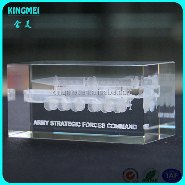 Best Quality 3D Laser Engraved Cube Crystal Airplane