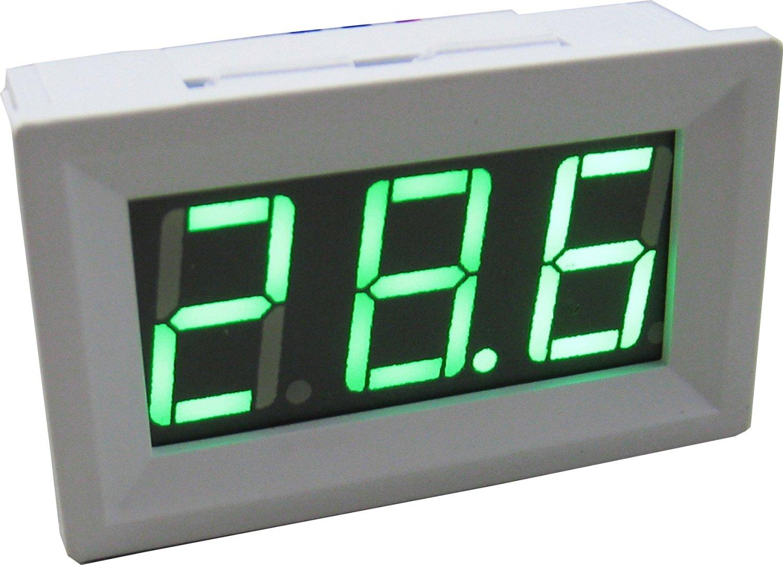 Yeeco -50-110 °C Degrees Celsius Digital Thermometer Car/Motor Temperature Panel Meter Temp Gauge Monitor Green Led Display with Waterproof B3950-10k Probe Sensor DC 12V White Shell