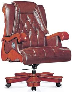 Antique luxury genuine leather king boss chair with wood base ergonomic swivel chair(FOH-A1239)