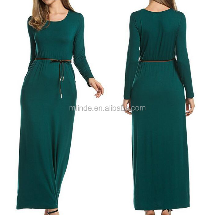 Women's O-Neck Long Sleeve Elegant Cocktail Evening Formal Maxi Dress Fashion Muslimah Cotton Maxi Long Dress Wholesale