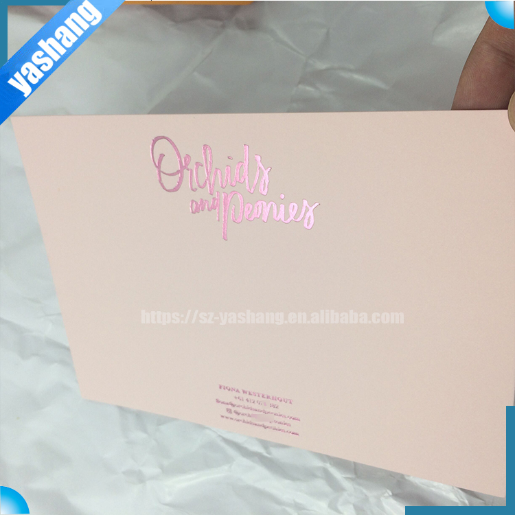 Led wedding invitation card printing rose embossed with rose foil stamping wedding thank you card