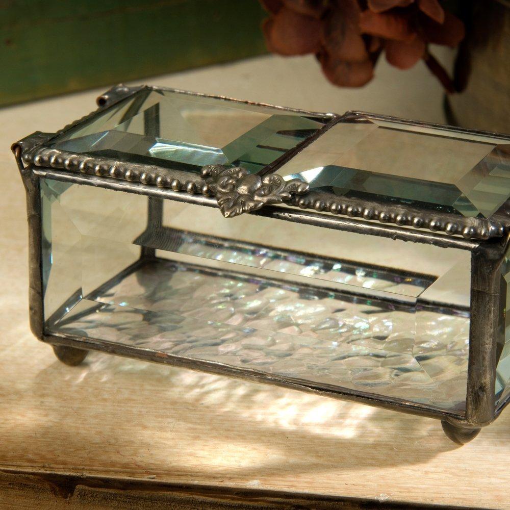 J Devlin Box 676 Beveled Glass Box Jewelry Keepsakes Double Open
