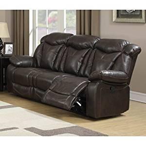 Hannah Dark Walnut Air Leather Living Room Reclining Sofa