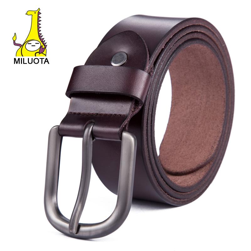 f29e743d841b2 Buy [MILUOTA] 2015 Genuine leather belt men fashion brand strap male pin  buckle simple designer belts jeans cinto luxury belt WND001 in Cheap Price  on ...