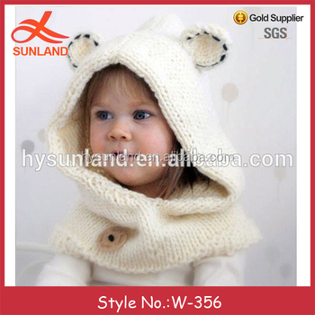 W 356 Knitting Pattern Polar Bear Hood Cowl Hat With Cute Hood For