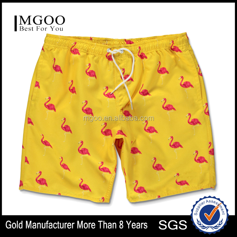 Flamingo Pattern Yellow Board Shorts Custom Screen Print Overall Colorway Walking Shorts Fastened Back Welt Pocket