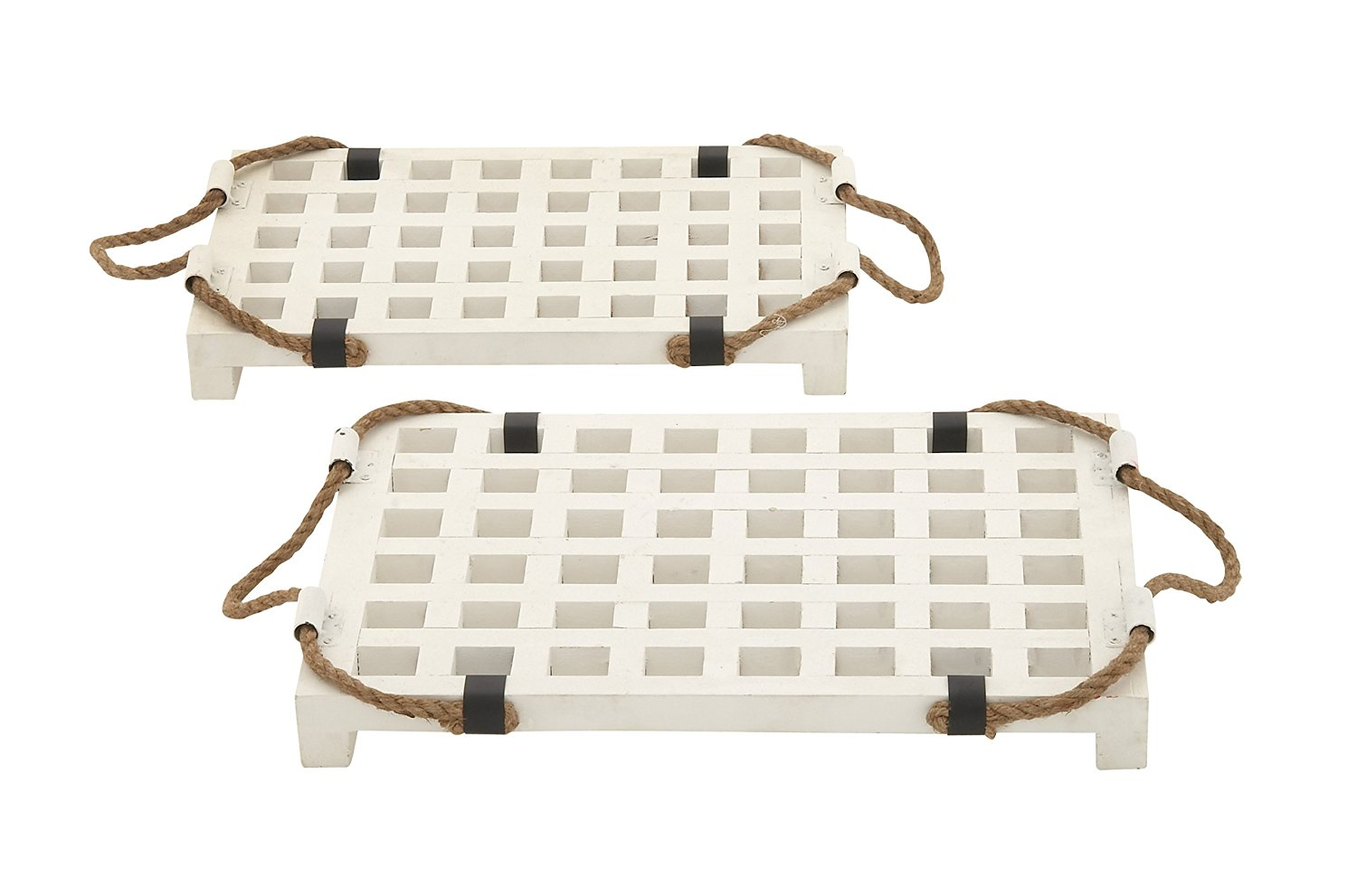 Plutus Brands White Wood Rope Tray (Set of 2)