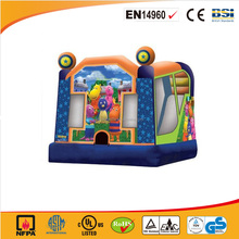 Cartoon painted cheap funny inflatable bouncer castle/inflatable playhouse for kids