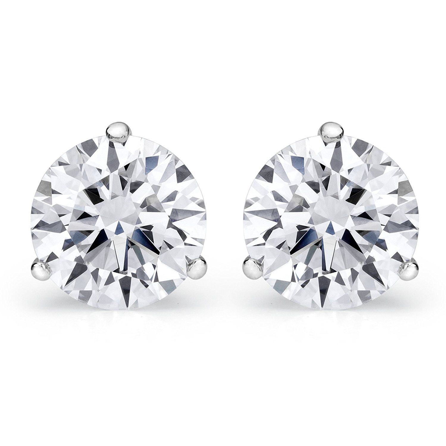 1/4 - 2 Carat GIA Certified Round Diamond Stud Earrings 3 Prong Push Back (D-E Color VS1-VS2 Clarity)