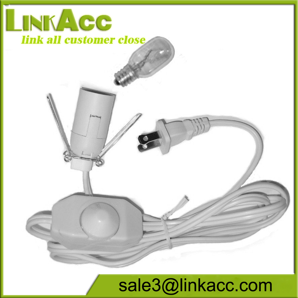 Electrical Salt Lamp Cord with Dimmer Switch, 15 Watt Light Bulb, and Wire Clip