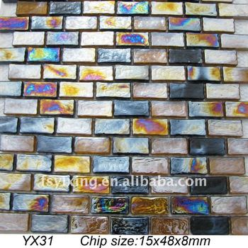 8mm Thickness Rectangle Iridescent Gl Mosaic Tile Yx31 For Subway Wall Brick