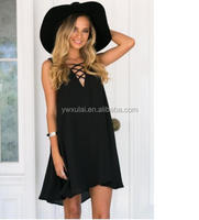 2017 girls women Europe and the United States latest designs large size women's chest cross chiffon dress