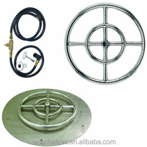 "12"", 18"" and 24"" Stainless Steel Burner Pan with Burner Ring Fire Pit NG Kit"