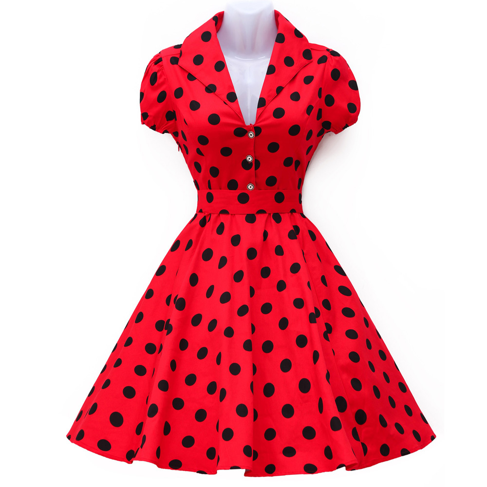 a3b7ade4cba ... Formal Dresses for Women · Fashion Brand Short Sleeve Polka Dot Women  50s 60s Pinup Swing Dress Short Robe rockabilly Casual