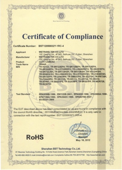 Certificate of Compliance(RoSH)