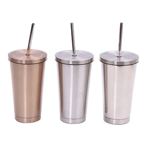 double wall insulated cups coffee drinks stainless skinny tumbler with straw