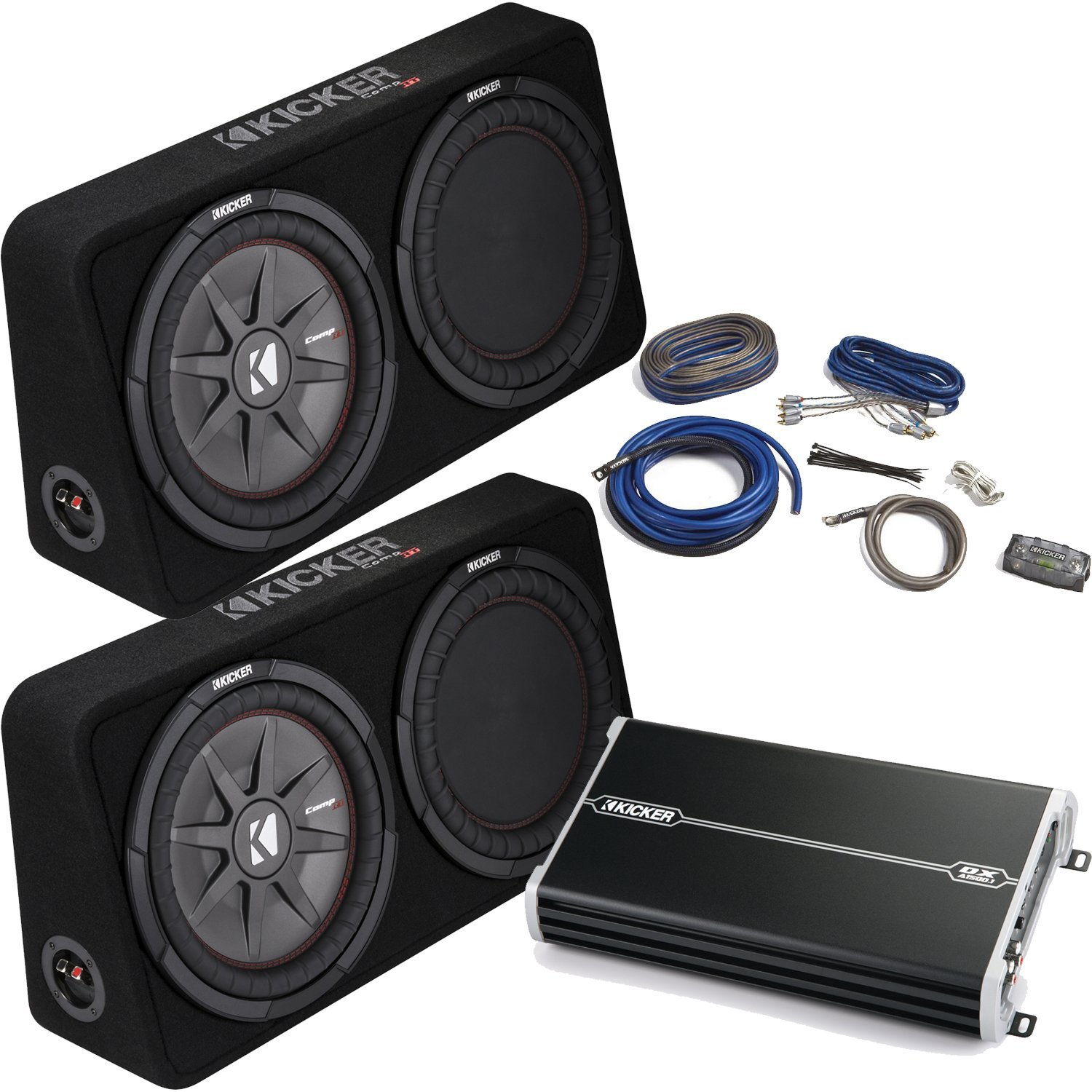 Cheap 4 Awg Amp Wiring Kit Find Deals On Line Kicker Get Quotations Bass Package Two 43tcwrt124 12 Thin Loaded Subwoofer W Radiators Dxa