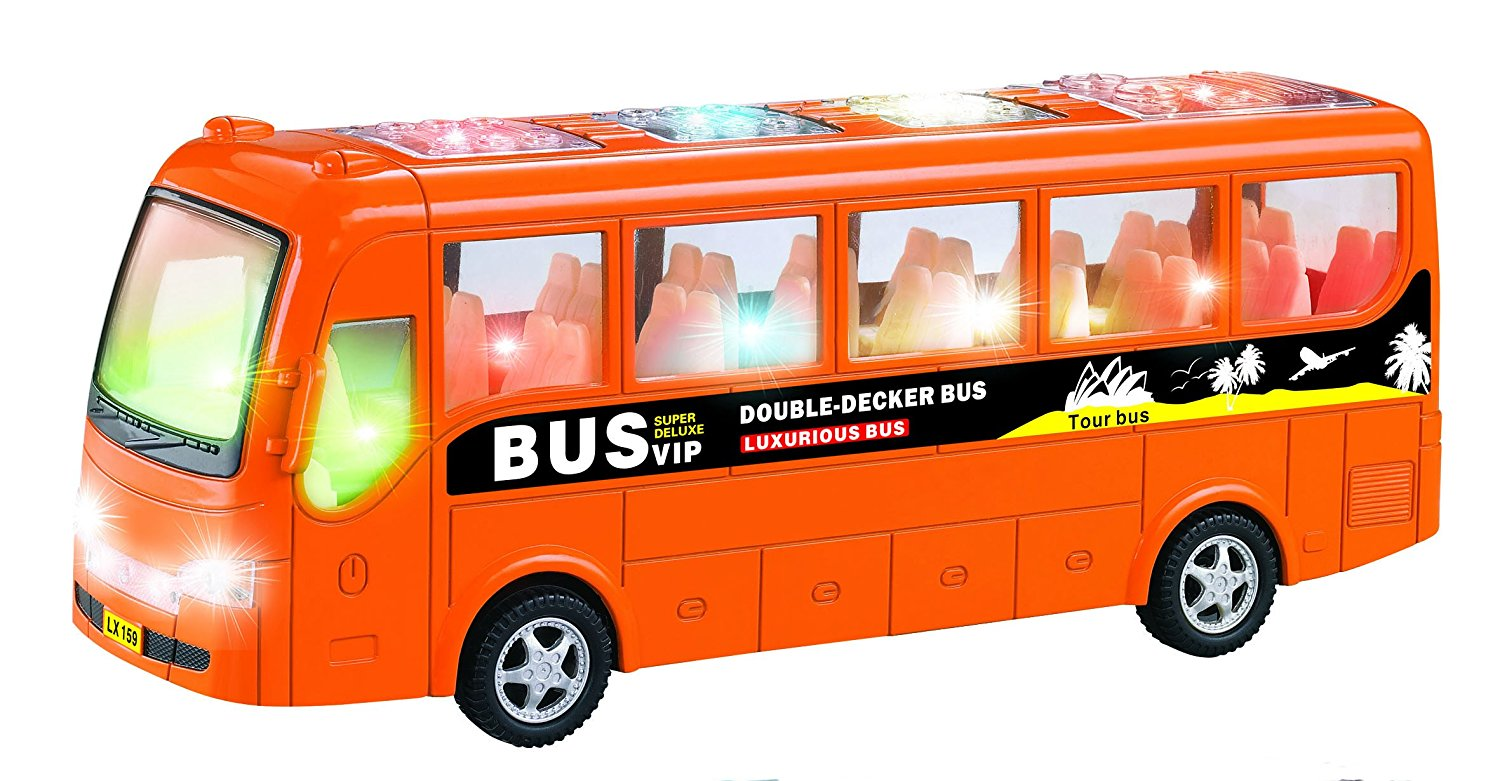 Toyze® Bump and Go Action, Kids Luxury Tour Coach Bus Toy with Bright Lights and Nice Music