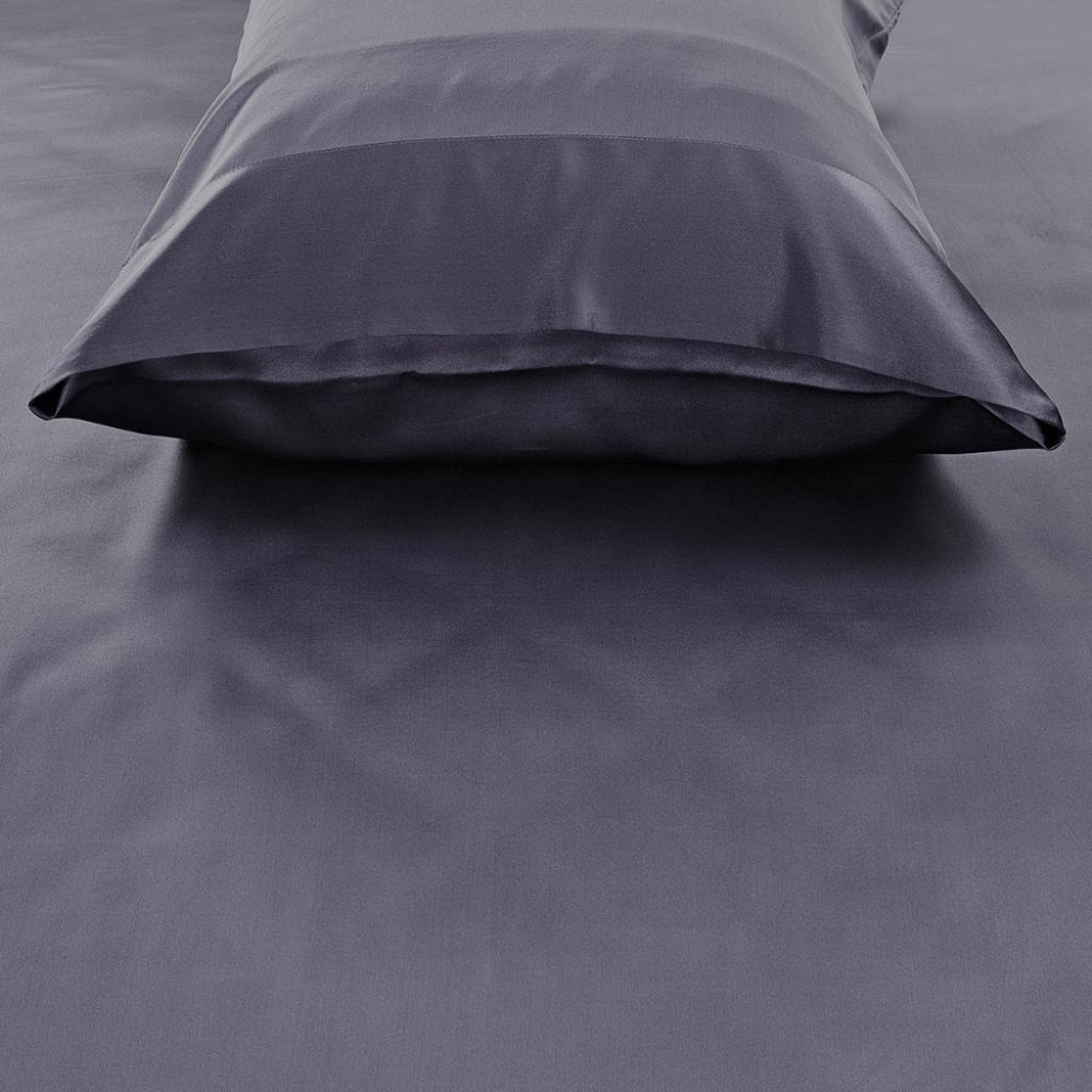 100% Mulberry Silk Pillowcases 22 Momme Weight King/Queen Size Dark Gray Luxury Pillow Cases