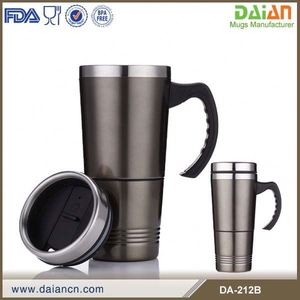 Insulated double wall stainless steel stackable coffee mugs with handle