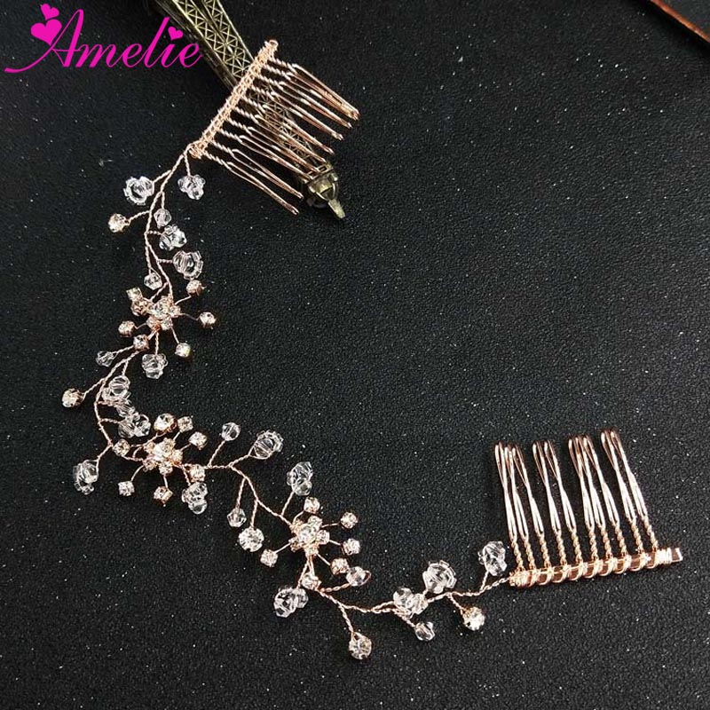 Rose Gold Wired Crystal Bridal Hair Comb Wedding Accessories Convertible Headband Bridesmaids Headpiece With Comb