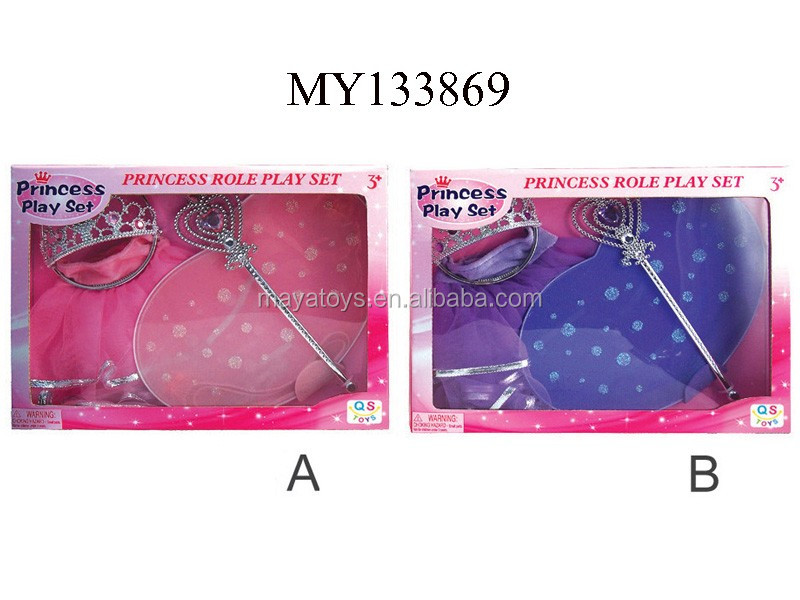 Fairy wings princess skirt wand & crown for girl