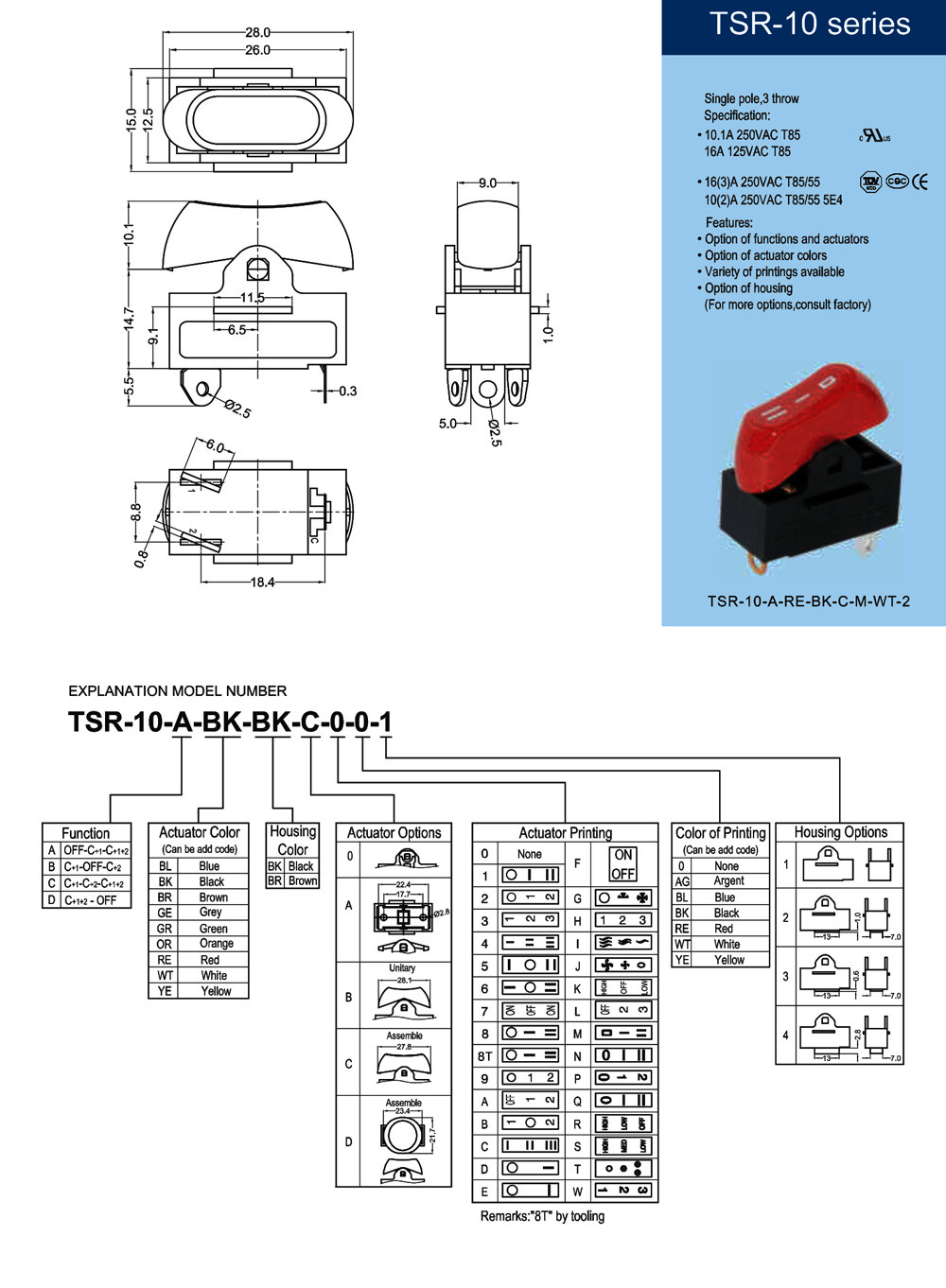 hair dryer rocker switch UL CUL ETL VDE TUV CQC certificate