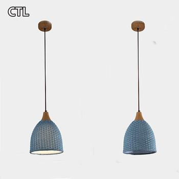 Nordic creative wool woven E27 hanging lamp bedroom restaurant warm twine pendant light minimalist macaron decorative chandelier