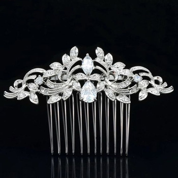 Top Wedding Hair Accessories White Gold Palted Cz Diamond Pins Jewelry For Women