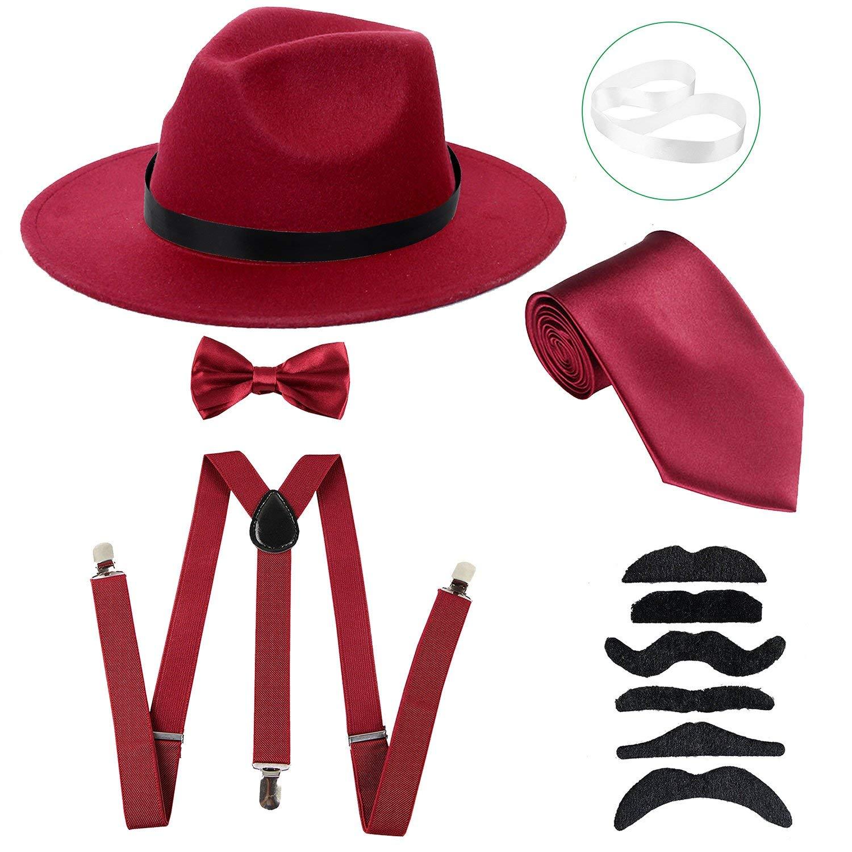 e2a4c2a649c Get Quotations · ZeroShop Men s Roaring 1920s Set Manhattan Fedora Hat