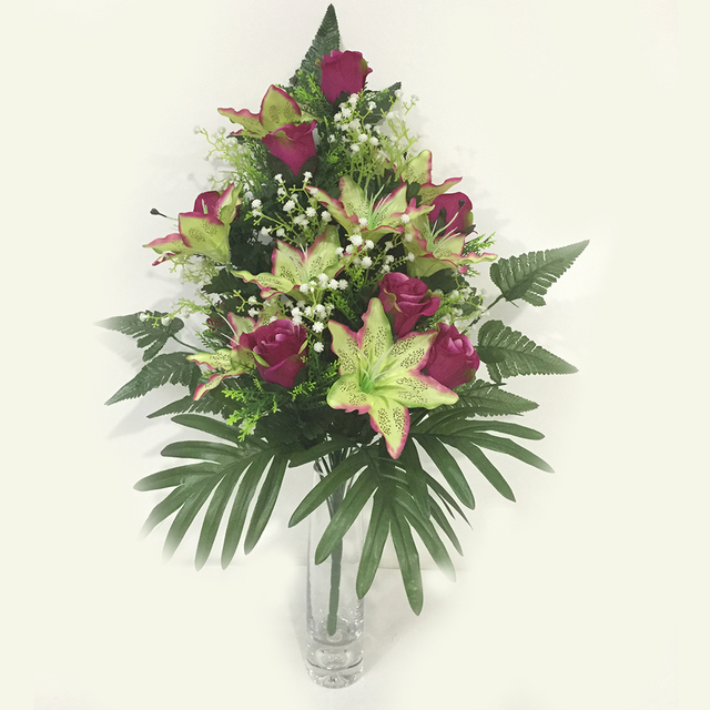 Buy cheap china silk flowers bouquet manufacturers products find professional manufacturer red green 24 heads flowers artificial silk half face bouquet mightylinksfo