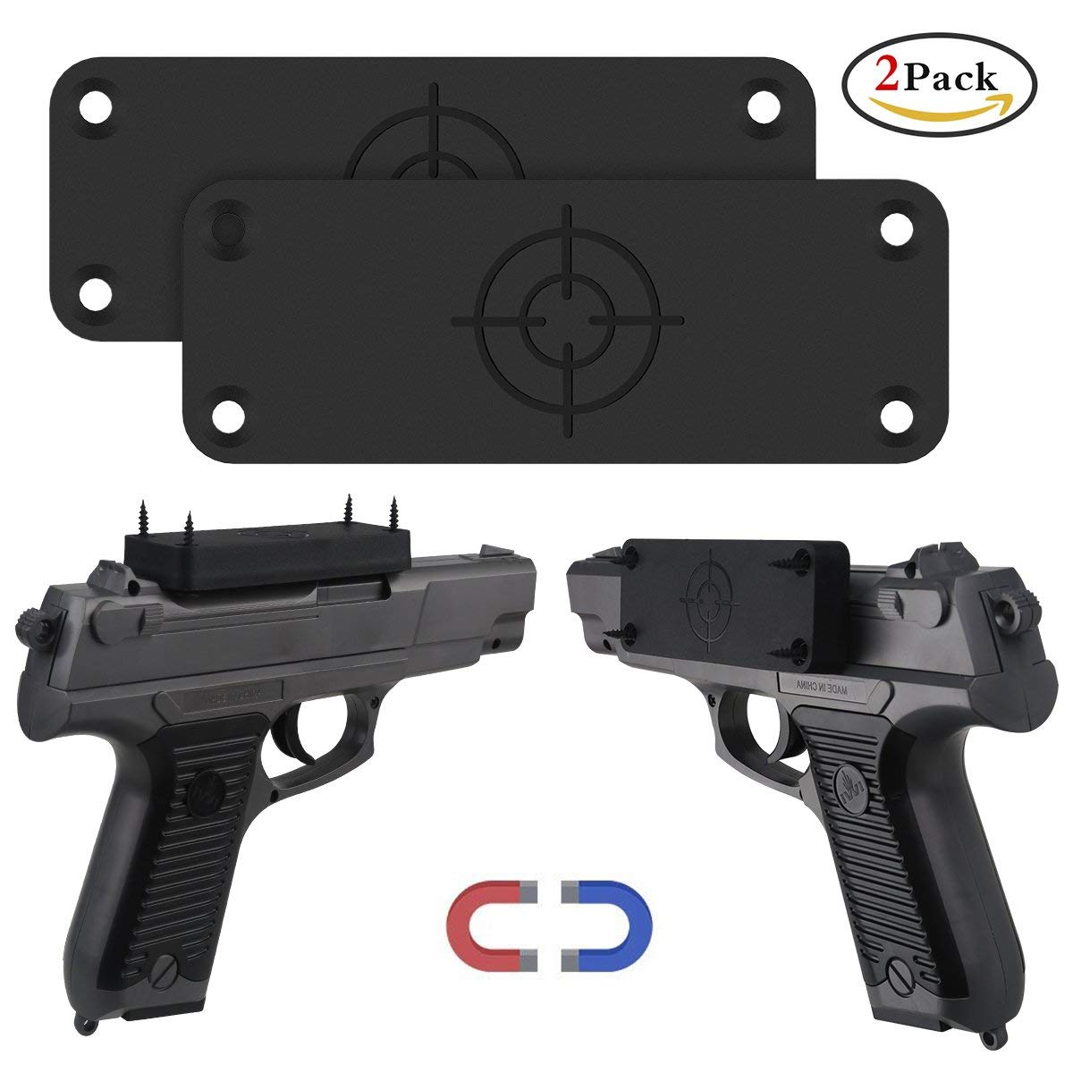 Gun Magnet Mount for Car and Home, 2-Pack, Magnetic Gun Mount with Rubber Coated 42 Lbs Rated for Handgun, Shotgun, Rifle, Pistol - Firearm Accessory. Concealed Holder in Home, Office, Truck, and Car.