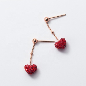 Fashion 925 Sterling Silver Red Heart Design Hanging Earrings