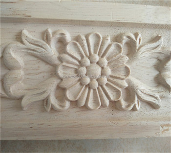 Hand Carved Wood Decorative Furniture Onlays Appliques For Cabinets