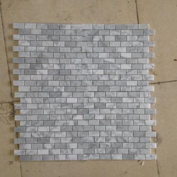 White Carrara Pattern Marble Mosaic Subway Tile For Backsplash