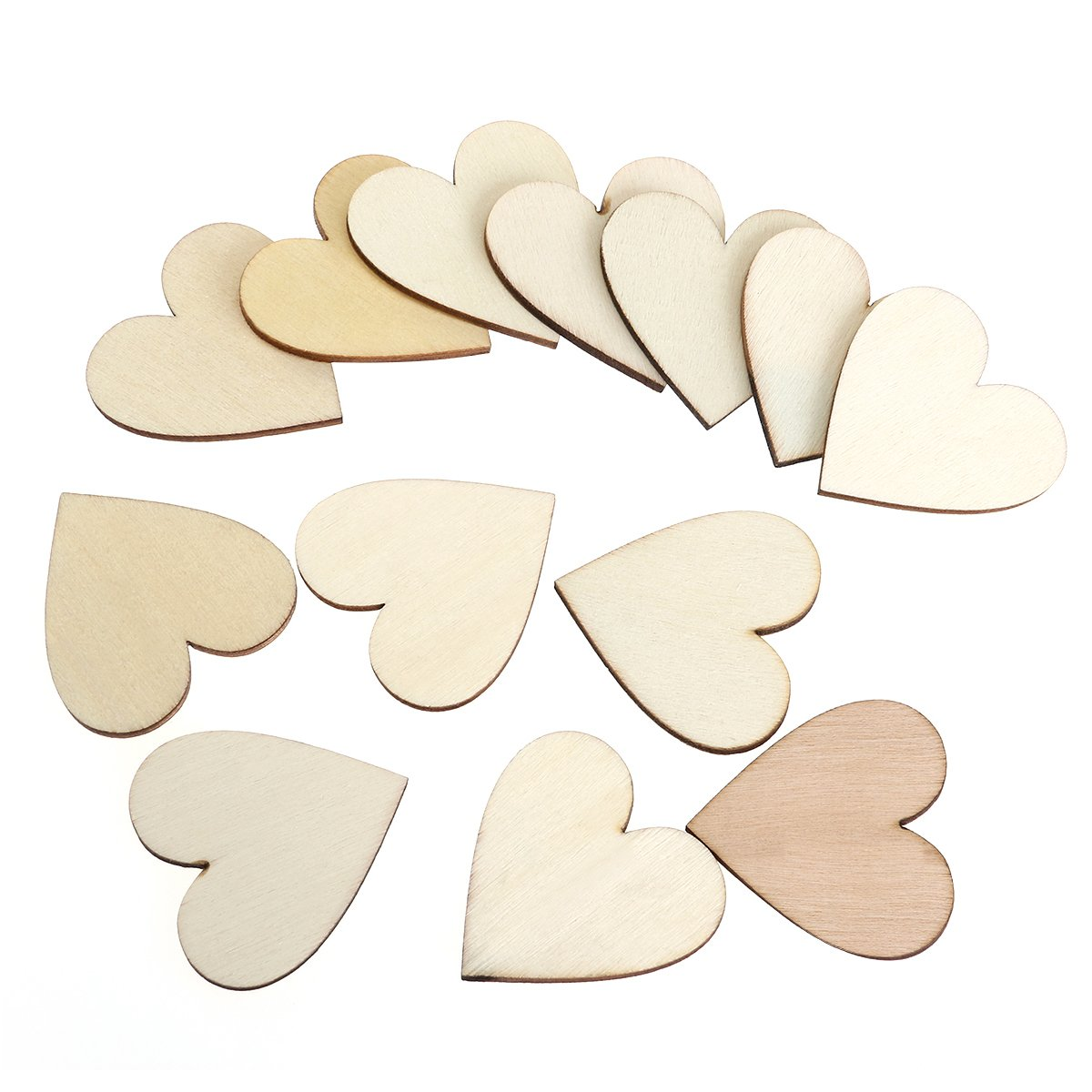 OULII Blank Heart Wood Slices Discs for DIY Crafts Embellishments 40mm,Pack of 100 (Wood Color)