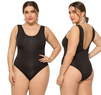 2019 big size new black Lady bikini Women's one piece backless bathing suits swimwear Solid color tight swimsuit