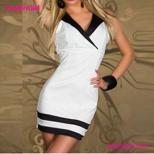 Plain White Deep V Neck Women Sexy Club Names Of Ladies Dresses