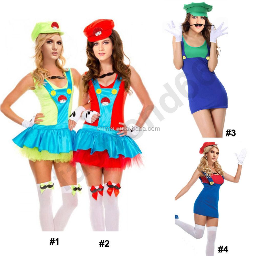women super mario luigi brothers halloween costume party fancy dress cosplay hot bw1203 buy mario costumesuper mario costumeswomen mario costume product