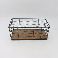 Home usage used rectangle iron metal mesh wire fruit basket with wood on the bottom