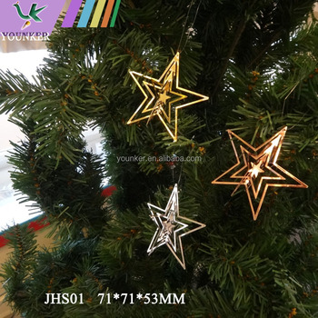 christmas gift 3d metal five pointed star christmas tree decoration